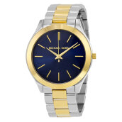 Michael Kors Slim Runway Blue Dial Two-Tone Stainless Bracelet Watch [MK3479]