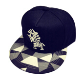 BAI B-341 Adjustable Baseball Cap MBL Hiphop cap with The Zebra design-Black