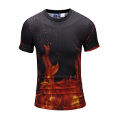 SESIBI 3D T Shirts Men's Summer Printing Tees -Fire Flame -