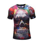 SESIBI 3D T Shirts Men's Summer Printing Tees -The Skull With Sunglasses -