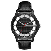 Armani Exchange Black Skeleton Dial Stainless Steel Case Leather Strap [AX2180]