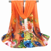 Fashionmall Flower and Magpie Print Chiffon Scarf