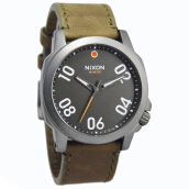 Nixon Ranger Gunmetal Leather Strap Mens  A4662072-1911D44CKT Analog Date Coklat Dark Brown