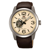 Orient Automatic Esteem Open Heart Beige Dial Brown Leather Strap [FDB0C005Y] Coklat