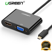 Micro HDMI Adapter, UGREEN Micro HDMI to VGA, HDMI Converter Transfer Video and Audio for Go Pro HERO 6 / 5, Asus Zenbook, Tesco Hudl, Lenovo Yoga 3 / Miix, Tablet, Camera, Phone with Micro HDMI Port