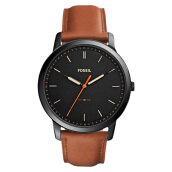 Fossil Men The Minimalist Three-Hand Black Dial Light Brown Leather Strap [FS5305]