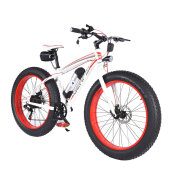 36V Lithium Battery 26inch Wheel Snow Bicycle Disc Brakes Mountain Beach Bike White