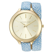 Michael Kors Slim Runaway Gold Dial Blue Leather Strap Watch [MK2478]