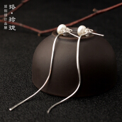 Luo Ling Ling s925 silver pearl earrings natural tassel