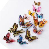 BESSKY 12pcs 3D Butterfly Design Decal Art Wall Stickers Room Magnetic Home Decor_ Multicolor