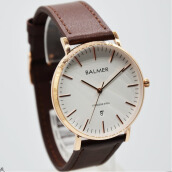 Balmer B.7913MR-D39H450CKTTRG Analog Date Leather Strap Jam Tangan Pria Coklat Tua Rosegold Brown