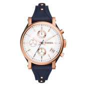 Fossil Boyfriend Chronograph Silver Dial Blue Leather Strap Watch [ES3838] Blue