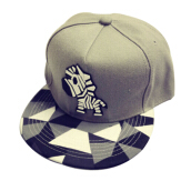 BAI B-342 Adjustable Baseball Cap MBL Hiphop cap with The Zebra design-Grey
