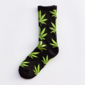 Cool My style CS-18 California skate city Maple leaf socks(about 19cm)-Black