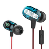 Knowledge Zenith KZ ZSE Dual Dynamic Driver Hifi In Ear Earphones With Mic - Blue