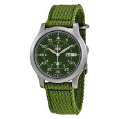 Seiko 5 Automatic 21 Jewels Green Military Nylon Strap [SNK805K2]