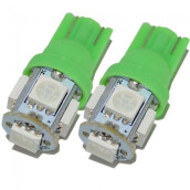 JMS - 1 Pair (2 Pcs) Lampu LED Mobil / Motor / Senja T10 W5W Wedge Side 5 SMD 5050 Green
