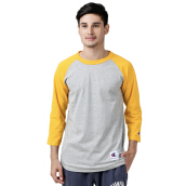 CHAMPION Raglan Baseball T-Shirt - Oxford Grey/C Gold
