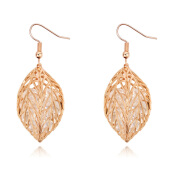 Rose Gold-plated Modelling Leaves AAA Grade Zirconia Autum Fairy-tales Drop Earring