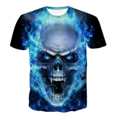 SESIBI 3D T Shirts Men's Summer Printing Tees -Crystal Skull -