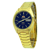 Orient Classic 3 Stars Crystal Automatic Men Black Dial Gold Stainless Steel Strap [SEM0401GB]