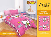 Selimut Akiko Sutra Rotary 150x200 Hello Kitty Flower - Pink Pink