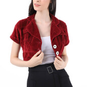 Mobile Power Ladies Bolero Cropped Outer Corduroy - Maroon H8501