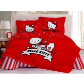 RISE Sprei Set Hello Kitty Apple Queen - Red / 160 x 200 x 35 cm