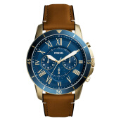 Fossil Grant Chronograph Blue Dial Genuine Leather Strap [FS5268]