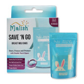 MALISH Save N' Go Breastmilk Storage Bags (Kantong Asi) 100 ml - Blue