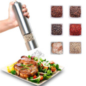 MIUK Electric Salt and Pepper Grinder Pepper Shaker Mill Stainless Steel Battery Powered Spice Muller Silver
