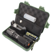 BESSKY X800 Zoomable XML T6 LED Tactical Flashlight+18650 Battery+Charger+Case_ Black