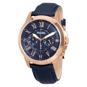 Fossil Grant Chronograph Navy Leather Strap [FS4835] Blue