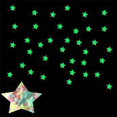BESSKY 100PC Kids Bedroom Fluorescent Glow In The Dark Stars Wall Stickers_ Multicolor