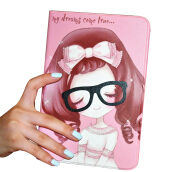 RockWolf iPad Air 2/iPad 6 case Luxury leather + TPU stereo glasses girl flip leather case