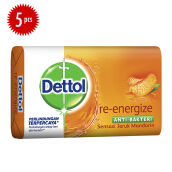 DETTOL Bar Soap Re-energize 105gr Super Hemat- Isi 5