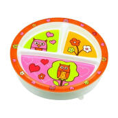 Sugar Boogar Spill Proof Baby Plate Divided Suction Plate Hoot - Multicolor