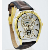 Aigner Vicenza Retro A111110 D40H11167HTCKTTG Multi Fungsi Leather Strap Jam Tangan Pria Hitam Coklat Gold Brown
