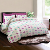 KING RABBIT Set Seprei Sarung Bantal King Motif Xoxo - Ungu - 180x200x30 cm