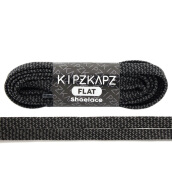 KIPZKAPZ FS65 Flat Shoelace - Black Grey Braid [8mm]