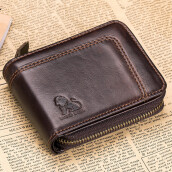 OldLion RFID Blocking Secure Wallet Vintage Genuine Leather 13 Card Slots Money Bag For Men  -Coffee