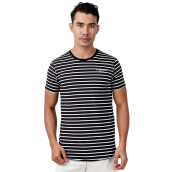 W.ESSENTIELS Chest Logo Pinstripe Black-White