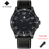 WWOOR 8014 Quartz Watch Leather Men Calender Waterproof Sport Watch Mens Wristwatches 3D Face Hour Clock