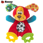 Aosen SOZZY Baby Teether Towel Infant Plush Comfort Sound Paper Soft Appease Stuffed Toy Red