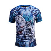 SESIBI 3D T Shirts Men's Summer Printing Tees -The Leapord-