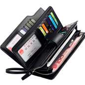 Zanzea Men Leather Business Long Wallet Credit Card Organizer Wallet with 21 Card Slots