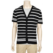 Perry Ellis Striped Pattern Short-Sleeved Cardigan Black (PDKC2102)