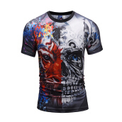 SESIBI 3D T Shirts Men's Summer Printing Tees -Double Lion Face -