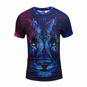 SESIBI 3D T Shirts Men's Summer Printing Tees -The Colorful Lion -