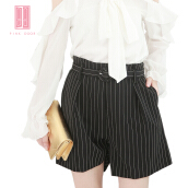 Pink Door Round Buckle Belt Stripes Short Pant-Black Black L